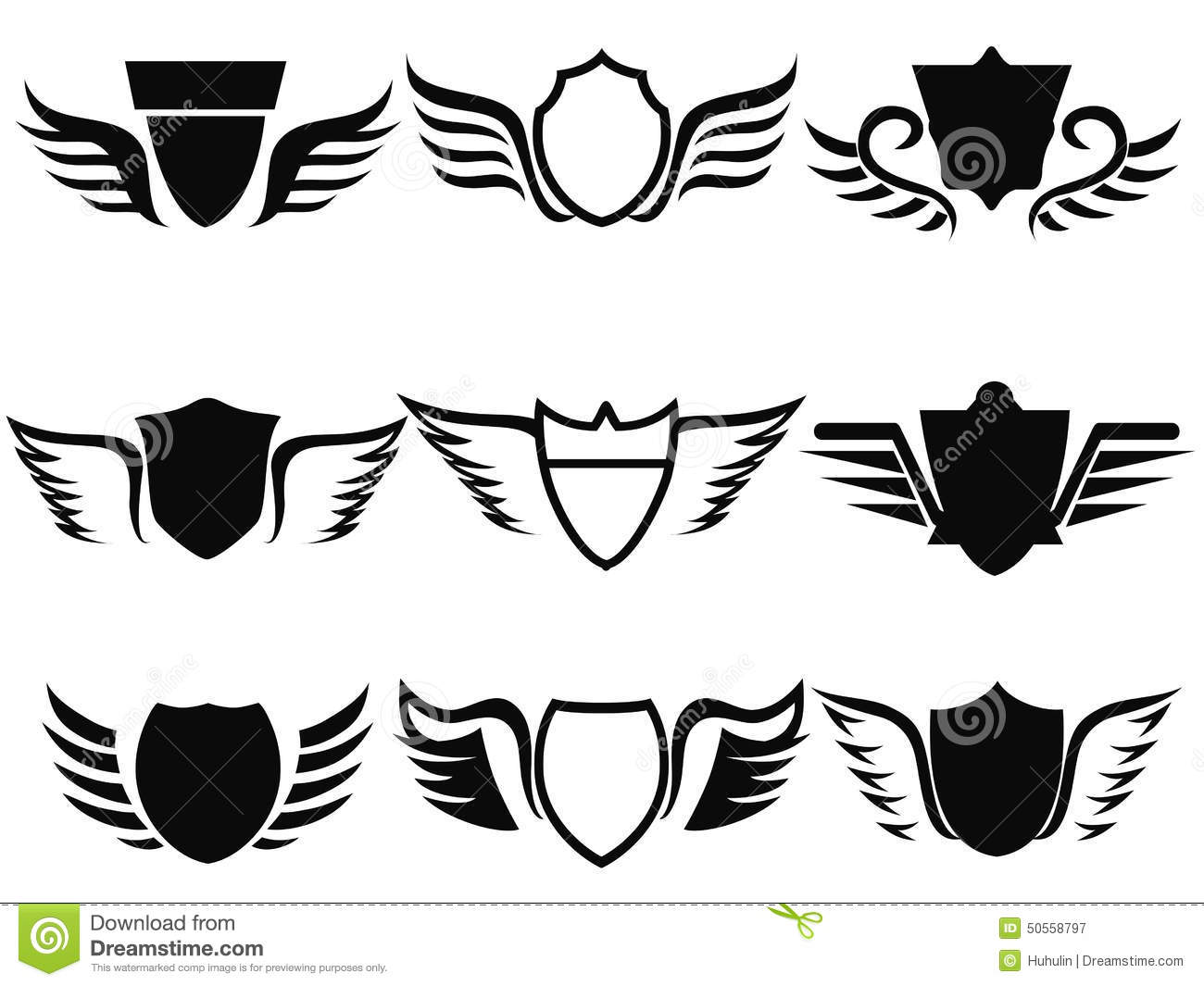Black Shield Wings Icon Stock Vector - Image: 50558797