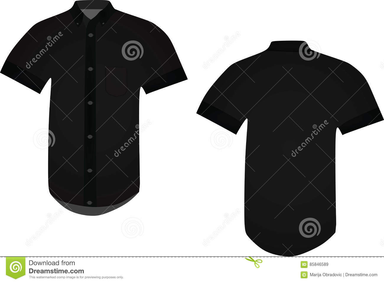 Black shirt stock vector  Illustration of button, product