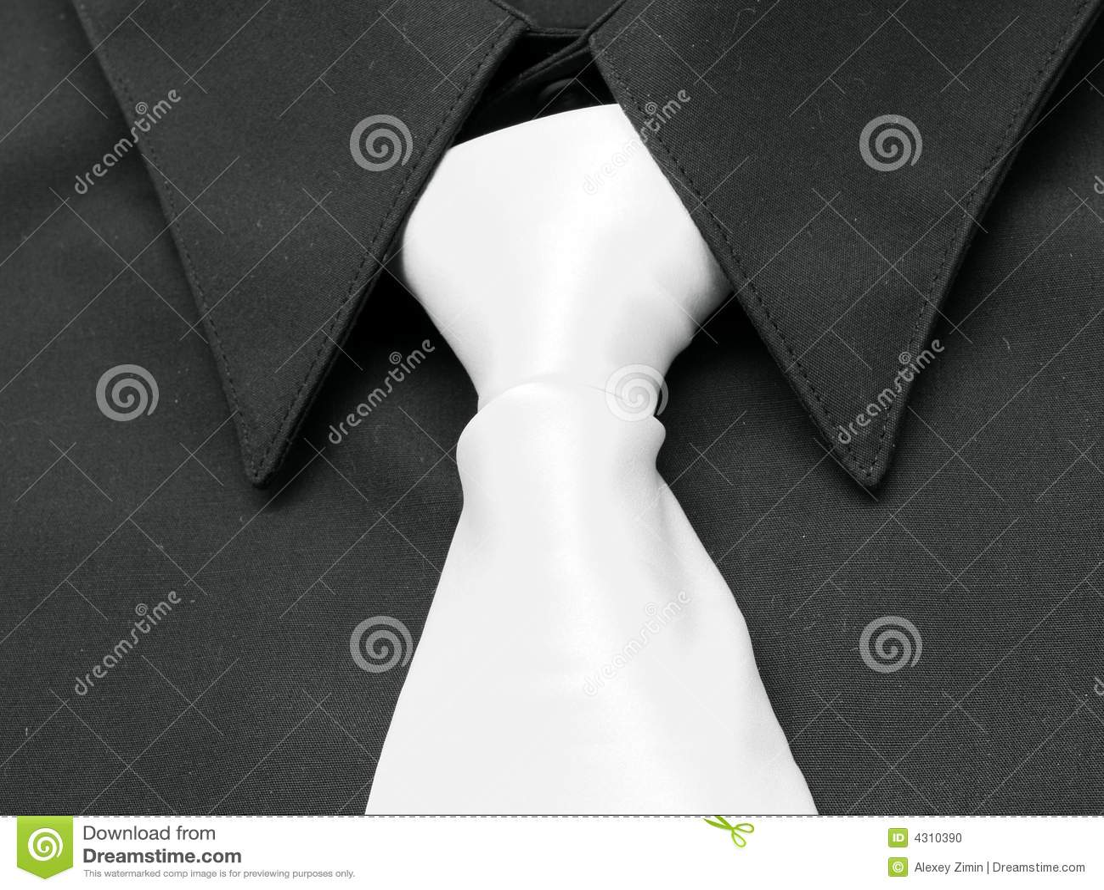Black Shirt White Tie Stock Photo Image 4310390