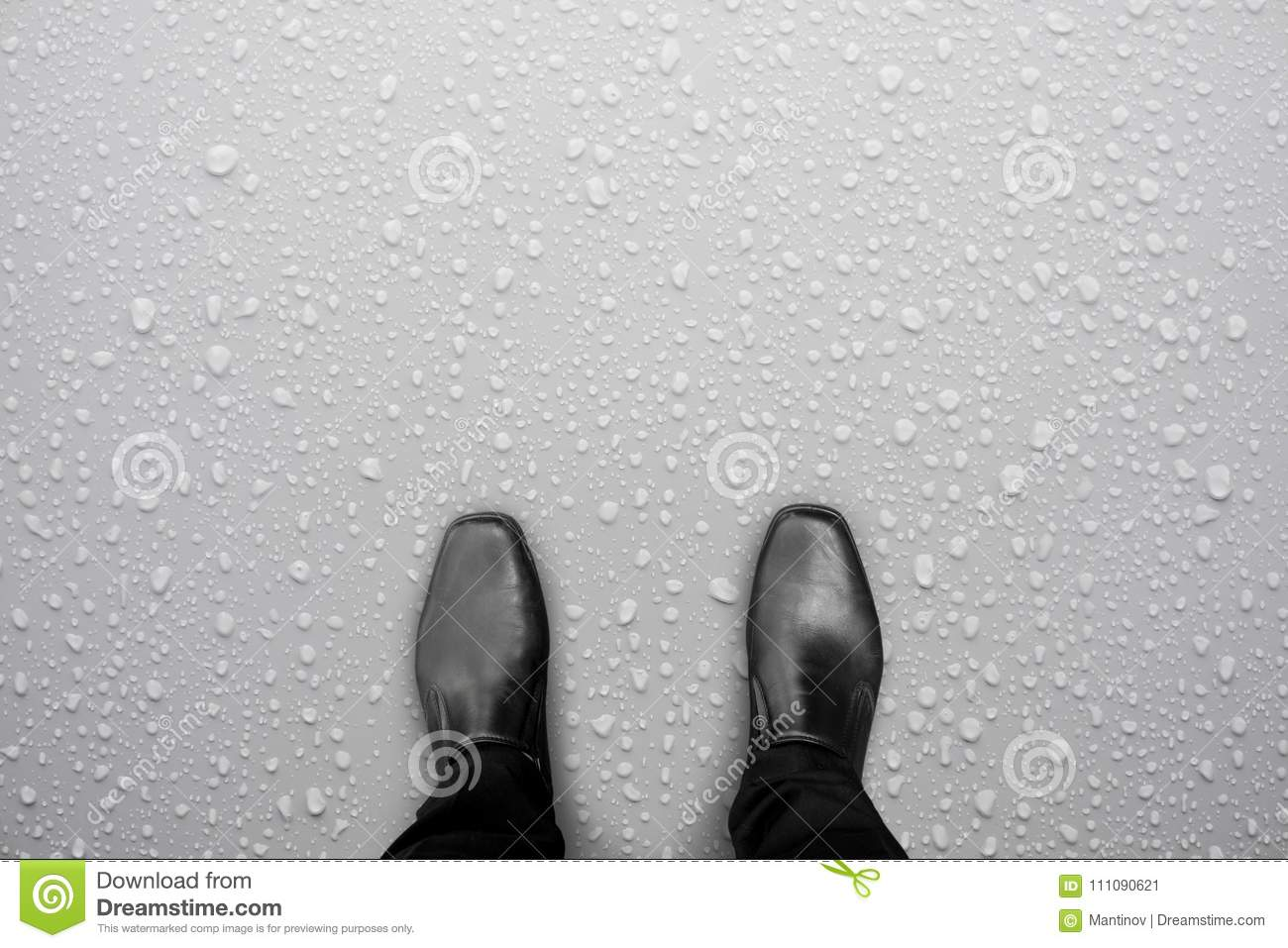 6bf010768001ad Black Shoes Standing On White Wet Floor Stock Image - Image of road ...