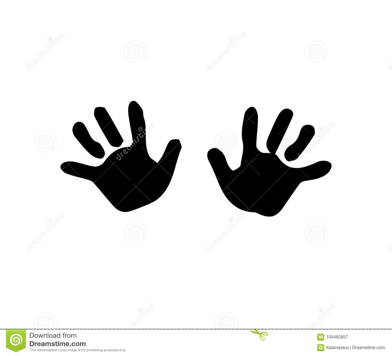 Black Silhouette Of Baby Hand Prints Isolated On White Stock