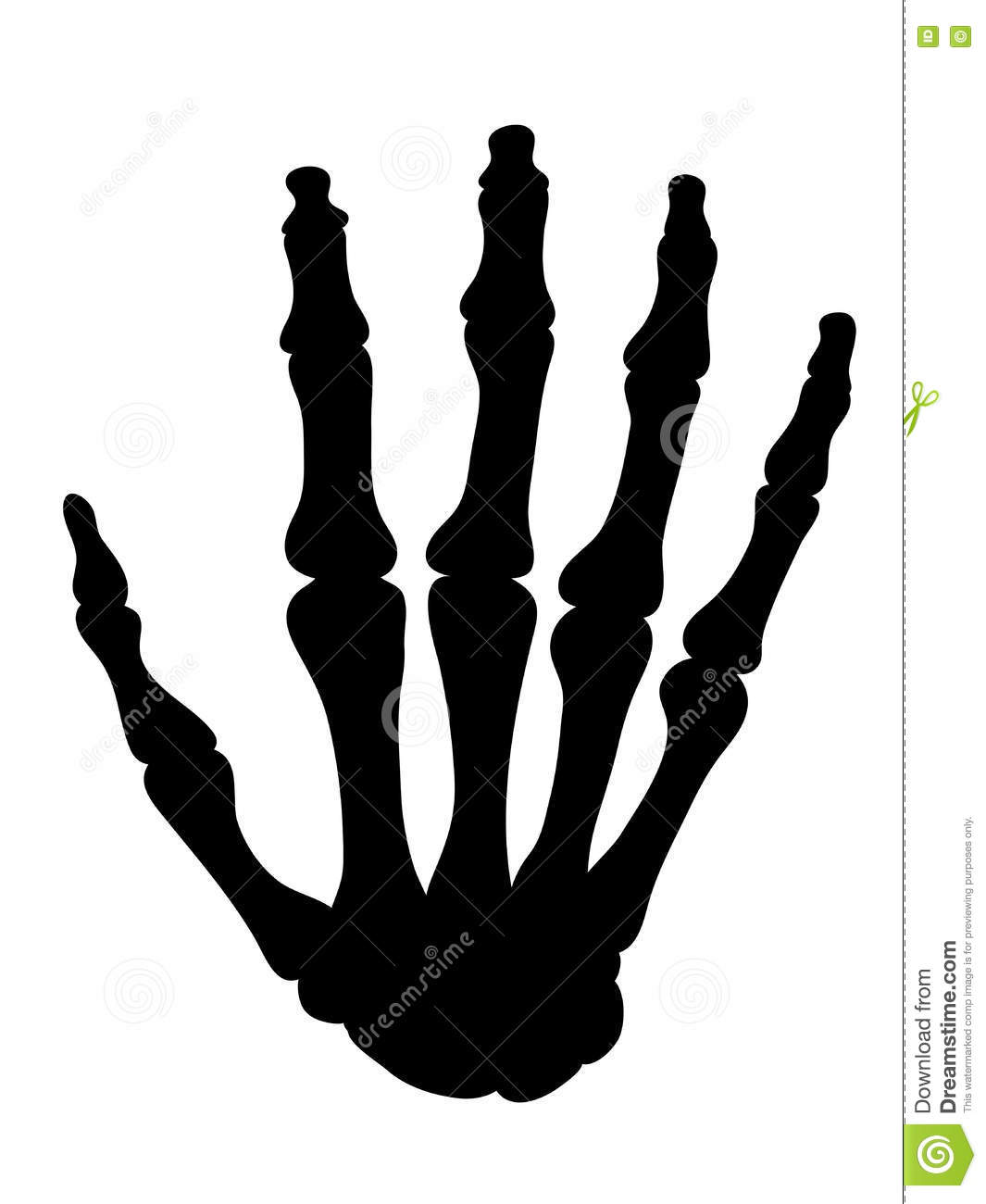 Black Silhouette Of The Bones Of The Hand Stock Vector