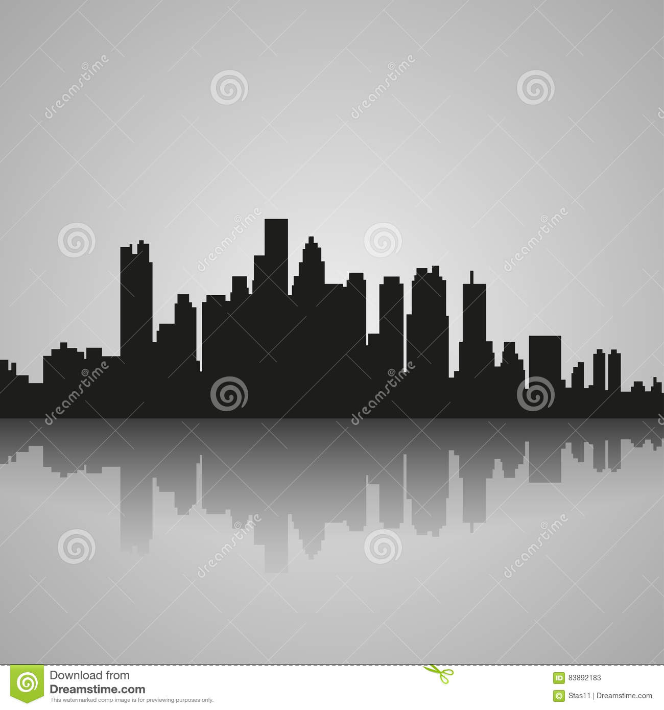Black silhouette of Boston with reflection. Vector illustration