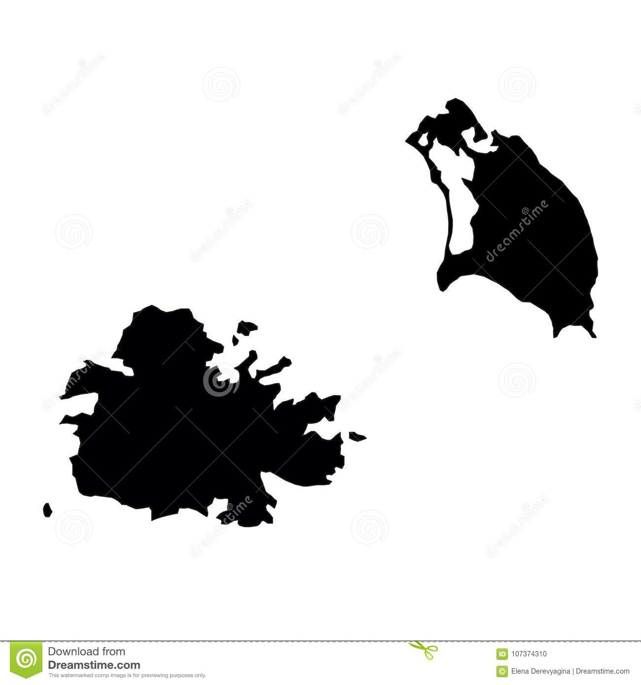 Black Silhouette Country Borders Map Of Antigua And Barbuda On W ...
