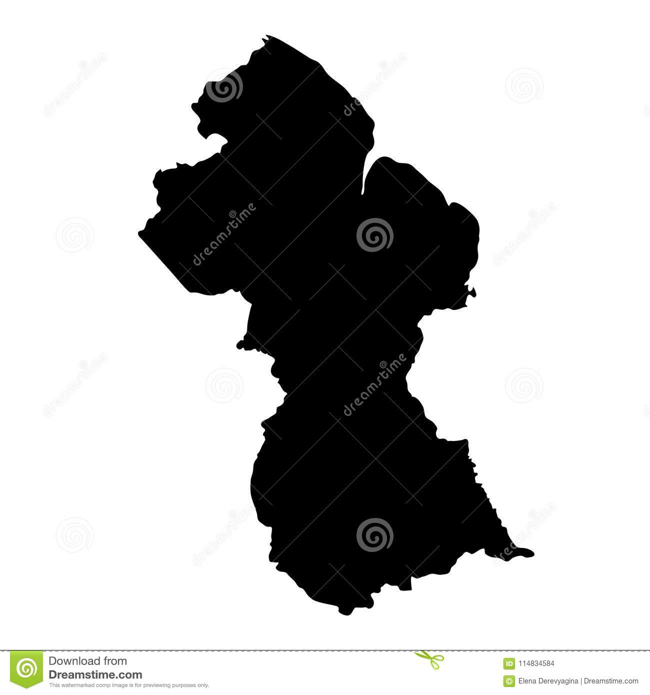 Black Silhouette Country Borders Map Of Guyana On White Background ...