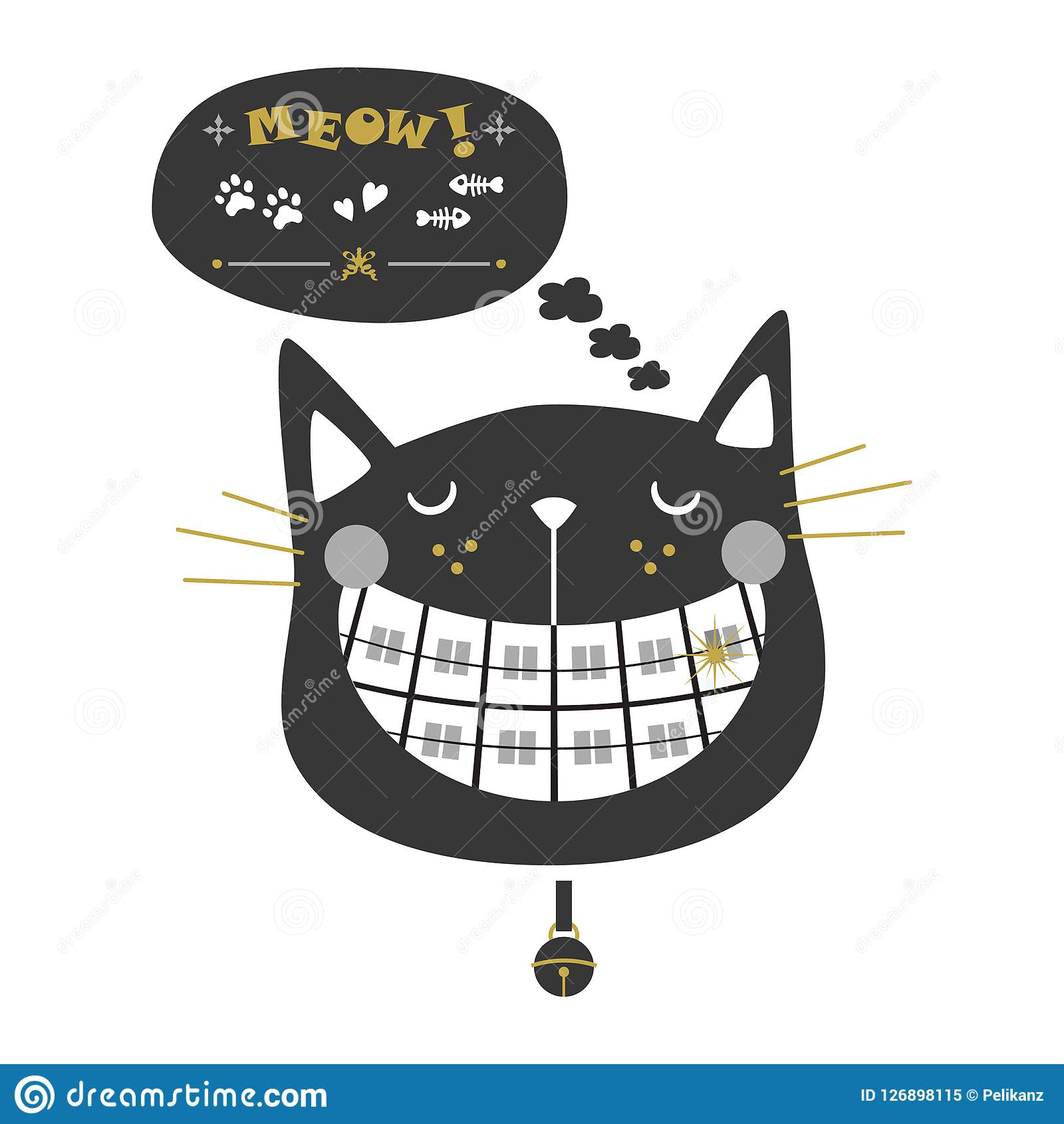 Black silhouette cute laughing orthodontics cat icons with collar bell and speech bubble