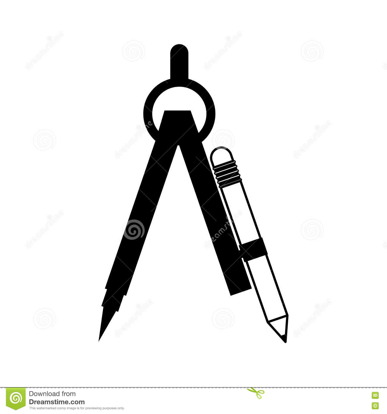 Black Silhouette Drawing Compass With Pencil Set Stock Image