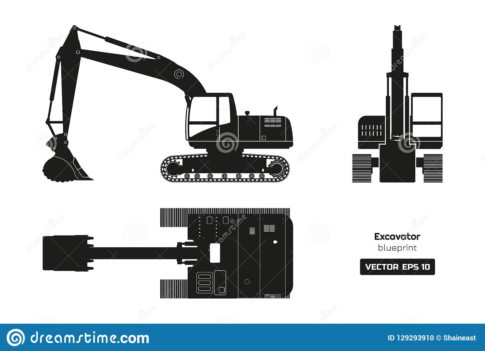 Black Silhouette Of Excavator. Top, Side And Front View ...