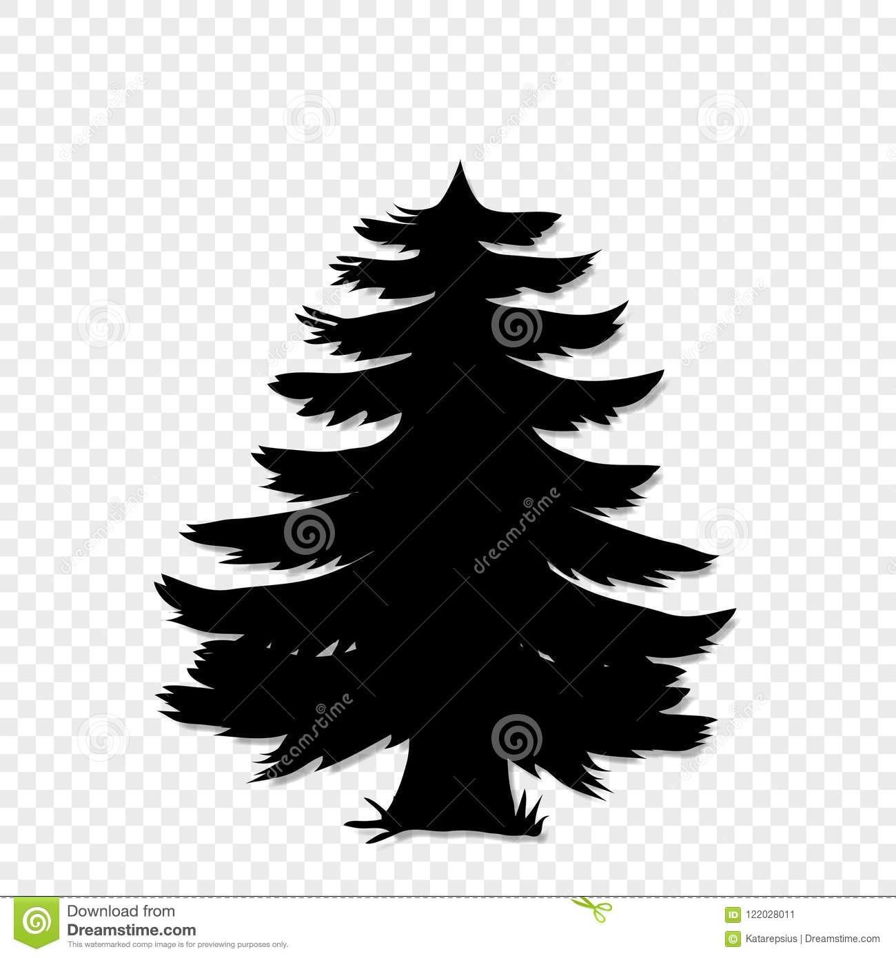 Black Silhouette Of Fir Tree Clip Art Isolated On Transparent