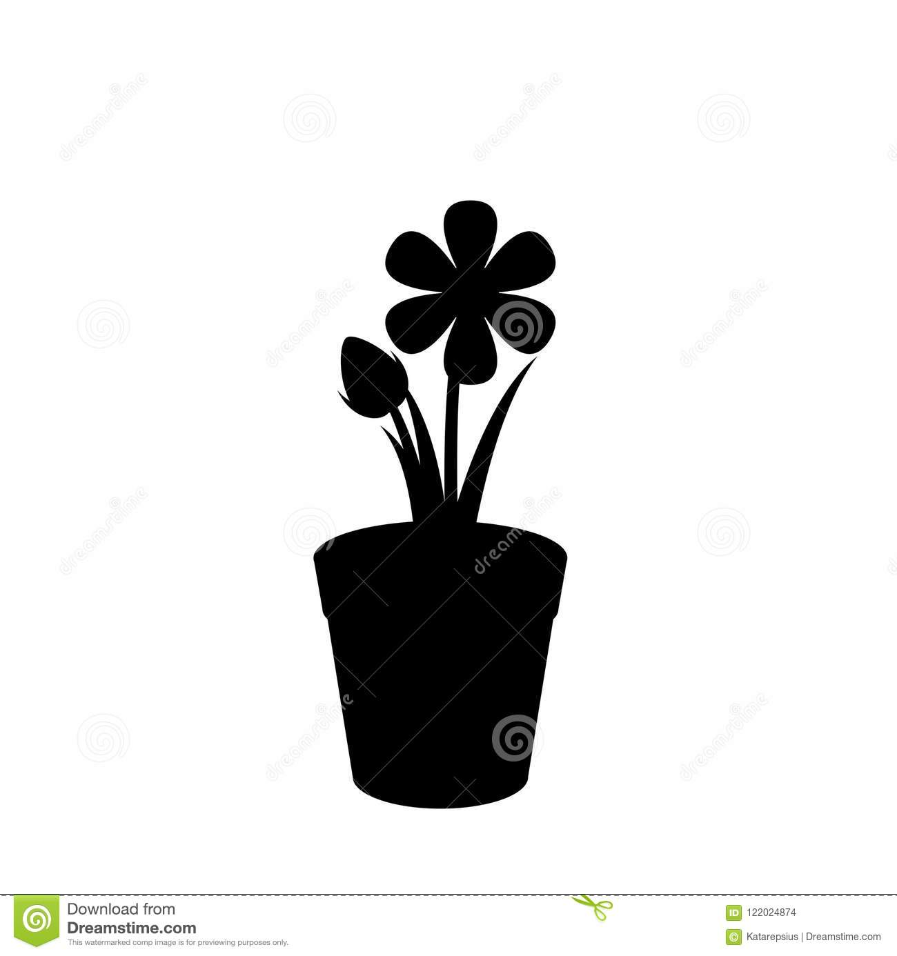 Black Silhouette Of Flower In The Pot Isolated On White