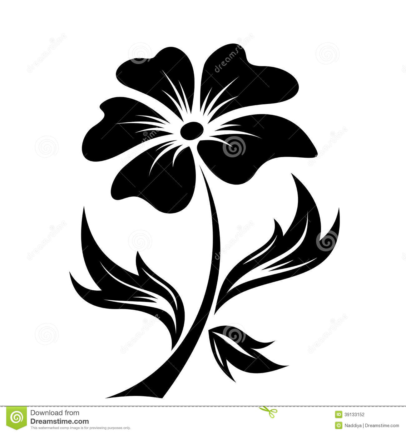 Black Silhouette Of Flower. Vector Illustration. Stock Vector - Image ...