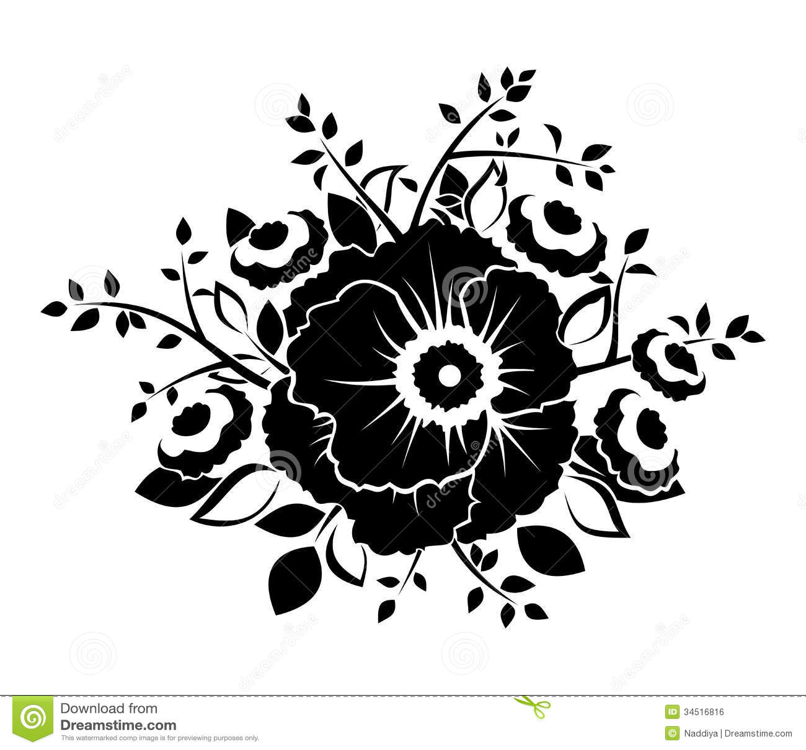 Black Flower On White Background Royalty Free Stock: Black Silhouette Of Flowers. Stock Vector