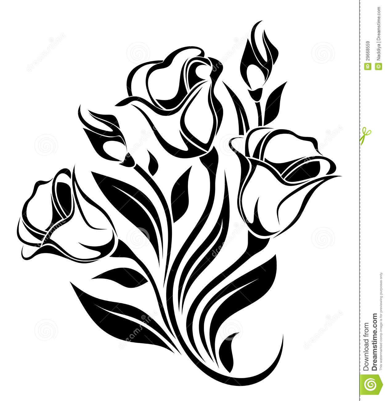 Black Flower Silhouette Pattern Royalty Free Stock Images: Black Silhouette Of Flowers Ornament. Vector. Royalty Free