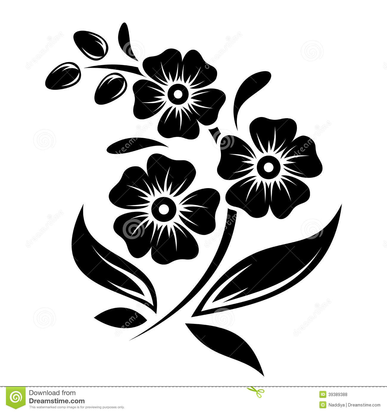 Black Silhouette Flowers Vector Illustration Stock Vector Image
