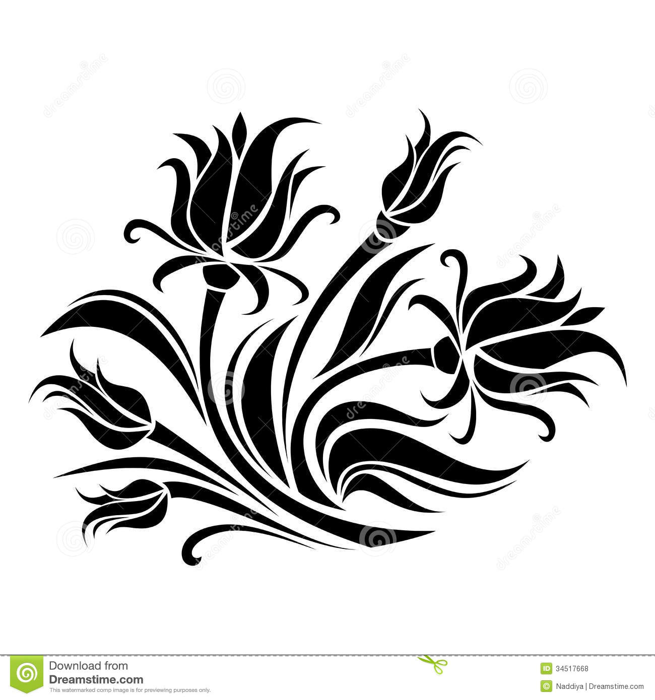 Black Flower And Bud Pattern Royalty Free Stock Photos: Black Silhouette Of Flowers. Stock Vector
