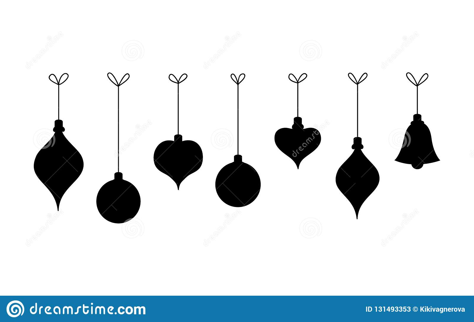 Hanging Christmas Ornaments Silhouette.Black Silhouette Hanging Christmas Balls Stock Vector