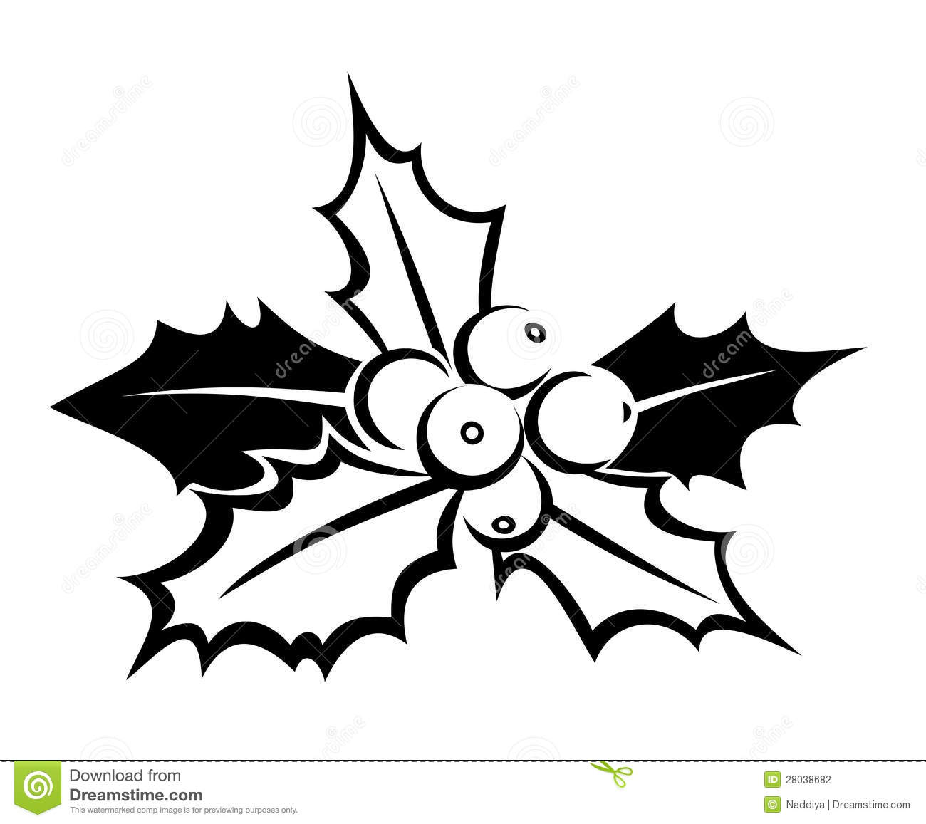 clip art holly leaves black and white - photo #4