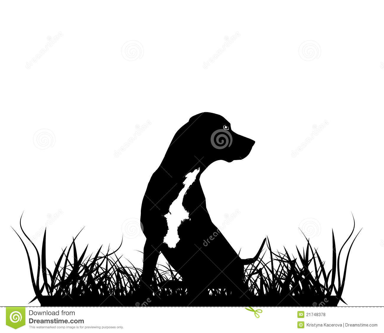 black silhouette of hunting dog stock illustration