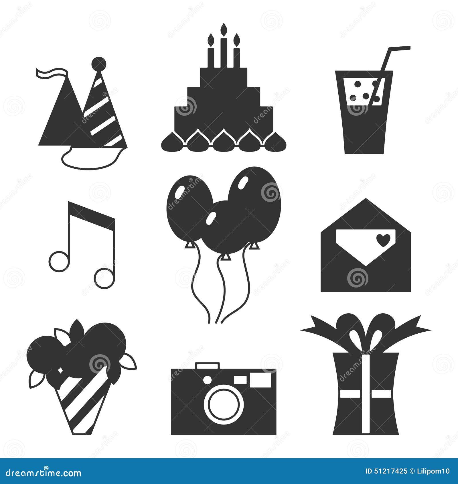 Birthday silhouette black silhouette icons happy birthday holiday