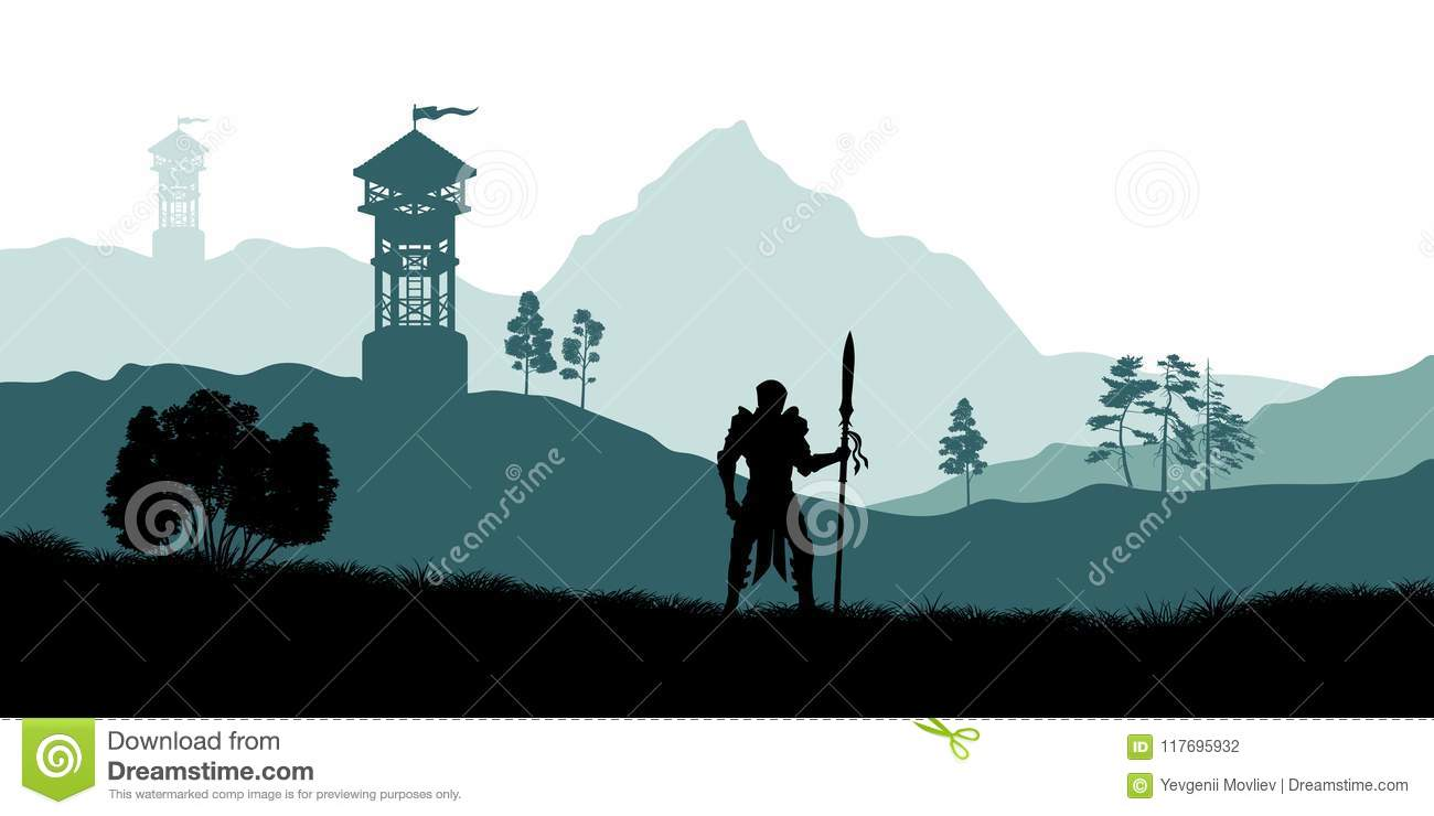 Black silhouette of knight on background of archers tower. Fantasy landscape. Medieval panorama. Battle watchtower