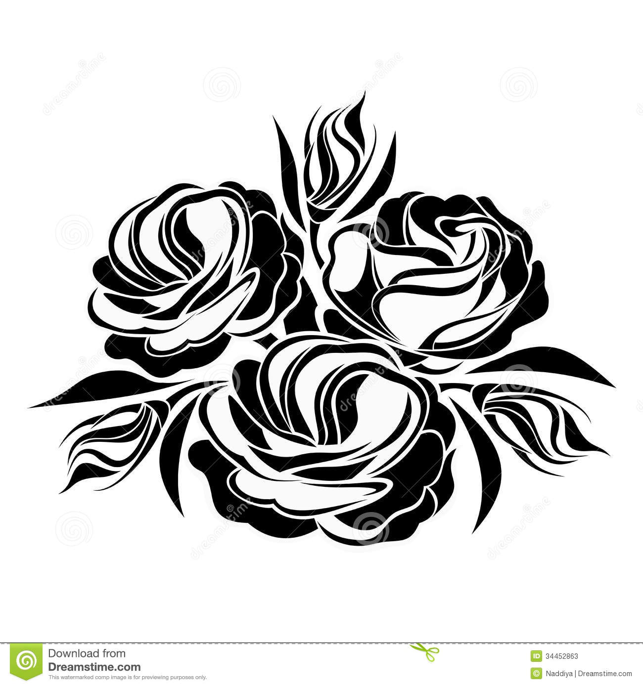 Black Flower Silhouette Stock Vector Illustration Of: Black Silhouette Of Lisianthus Flowers. Stock Photos