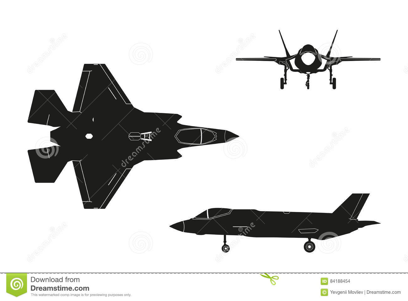 Black Silhouette Of Military Aircraft On White Background