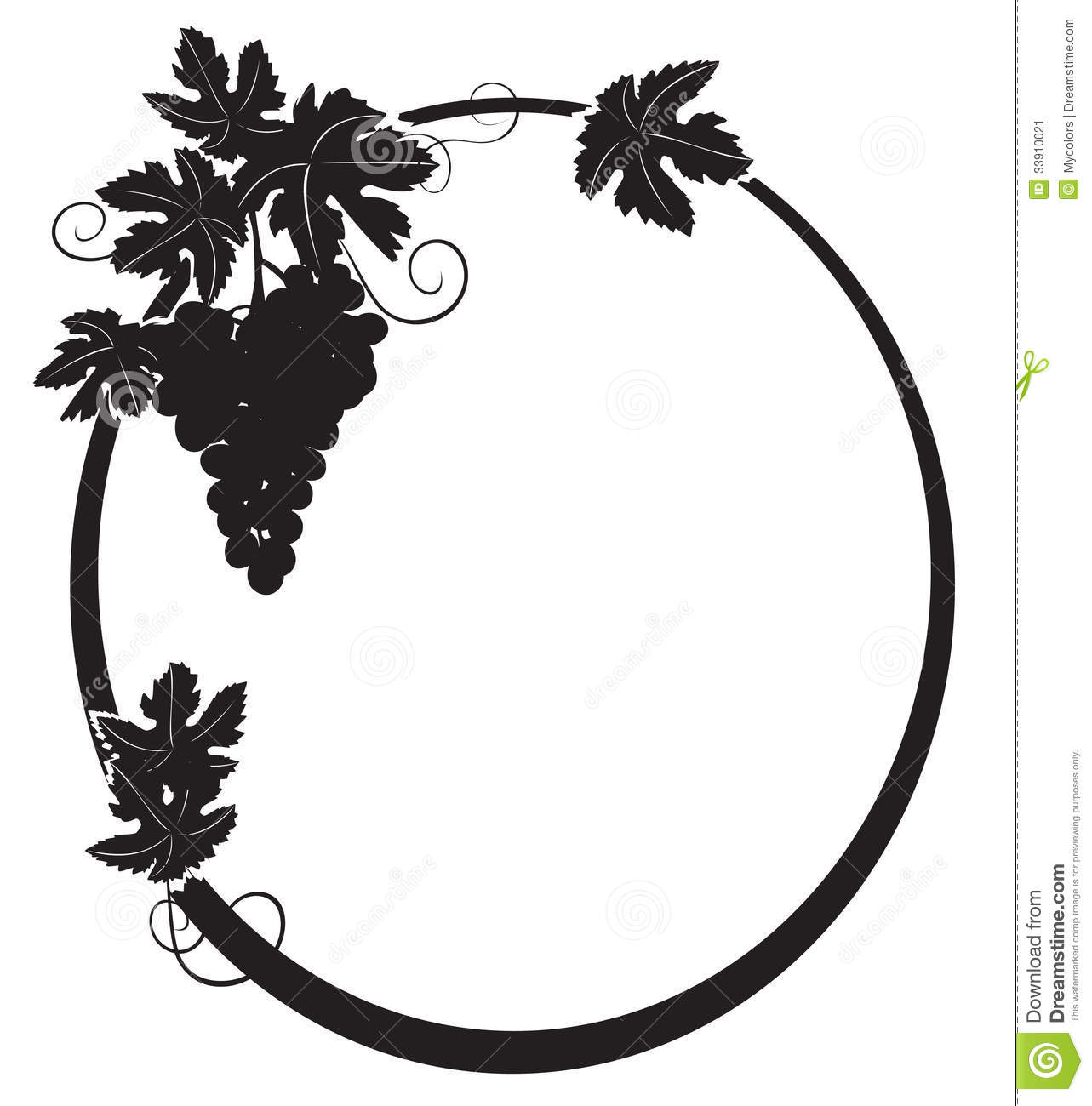 Black Silhouette Oval Frame With Grape Vector Stock