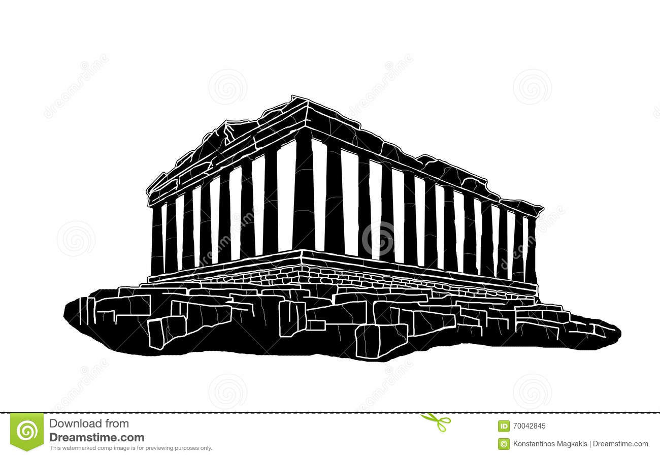 Black Silhouette Of Parthenon Stock Illustration Image