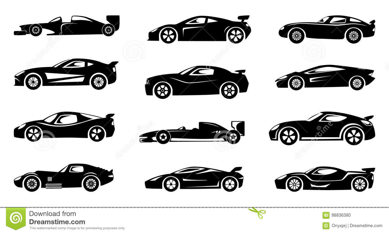 Black Silhouette Of Race Cars Sports Symbols Isolated Stock Vector