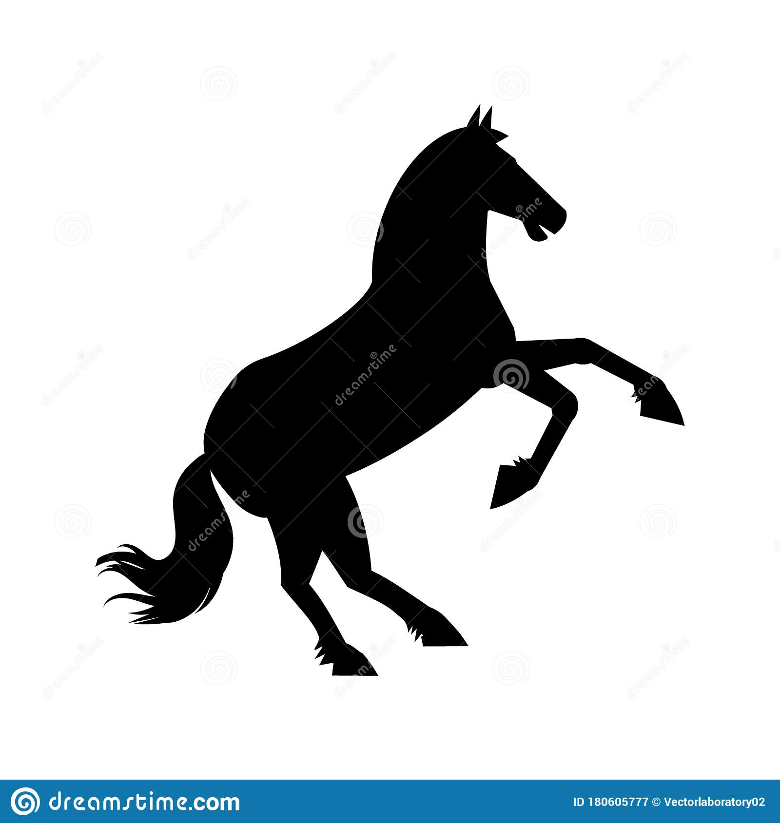 Black Silhouette Of Rearing Horse On White Background Wild Horse Animal Trendy Flat Style For Graphic Design Web Site Stock Vector Illustration Of Icon Element 180605777