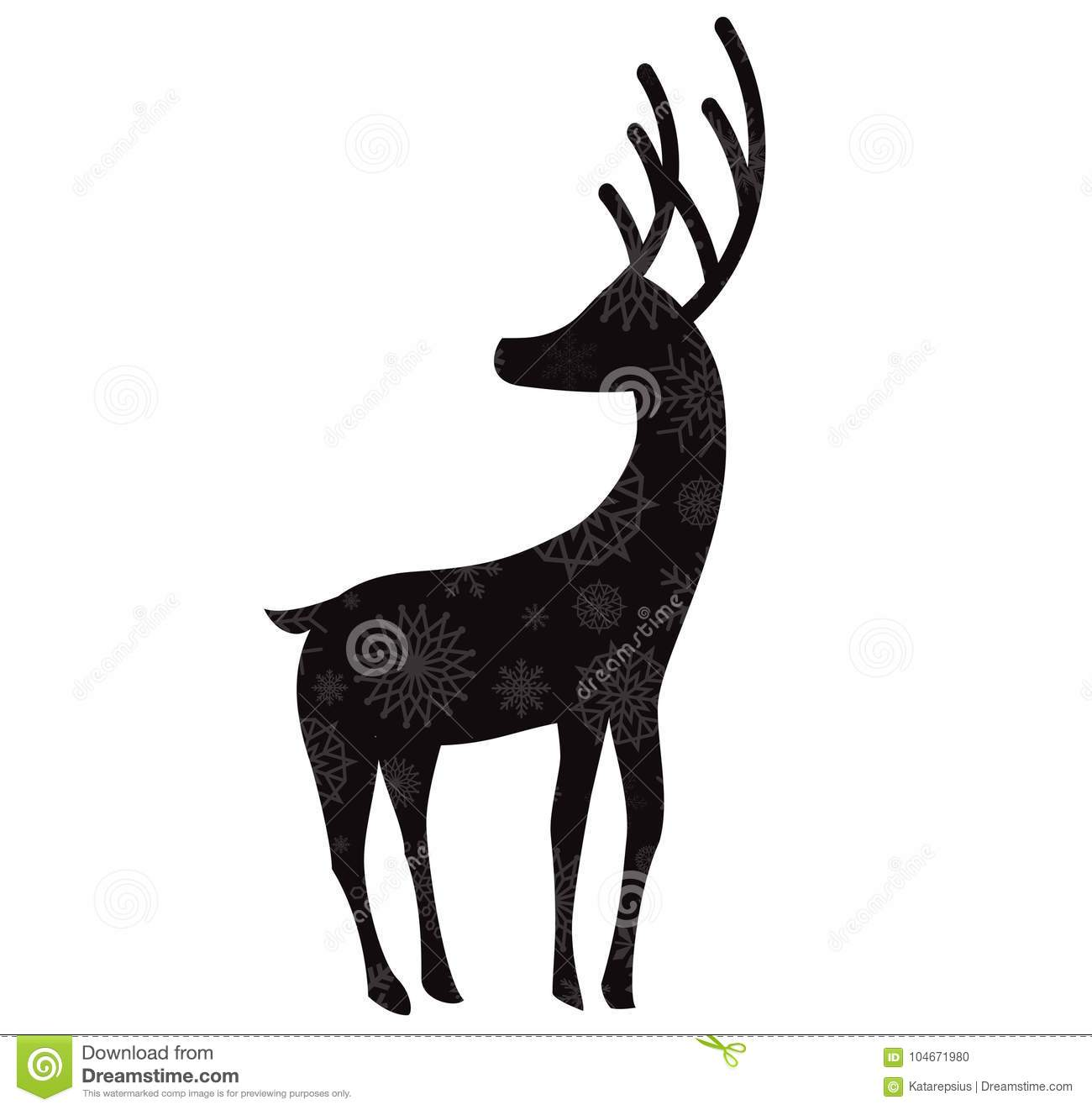 Black silhouette of reindeer with snow flakes pattern isolated on white background vector illustration icon sign symbol of deer