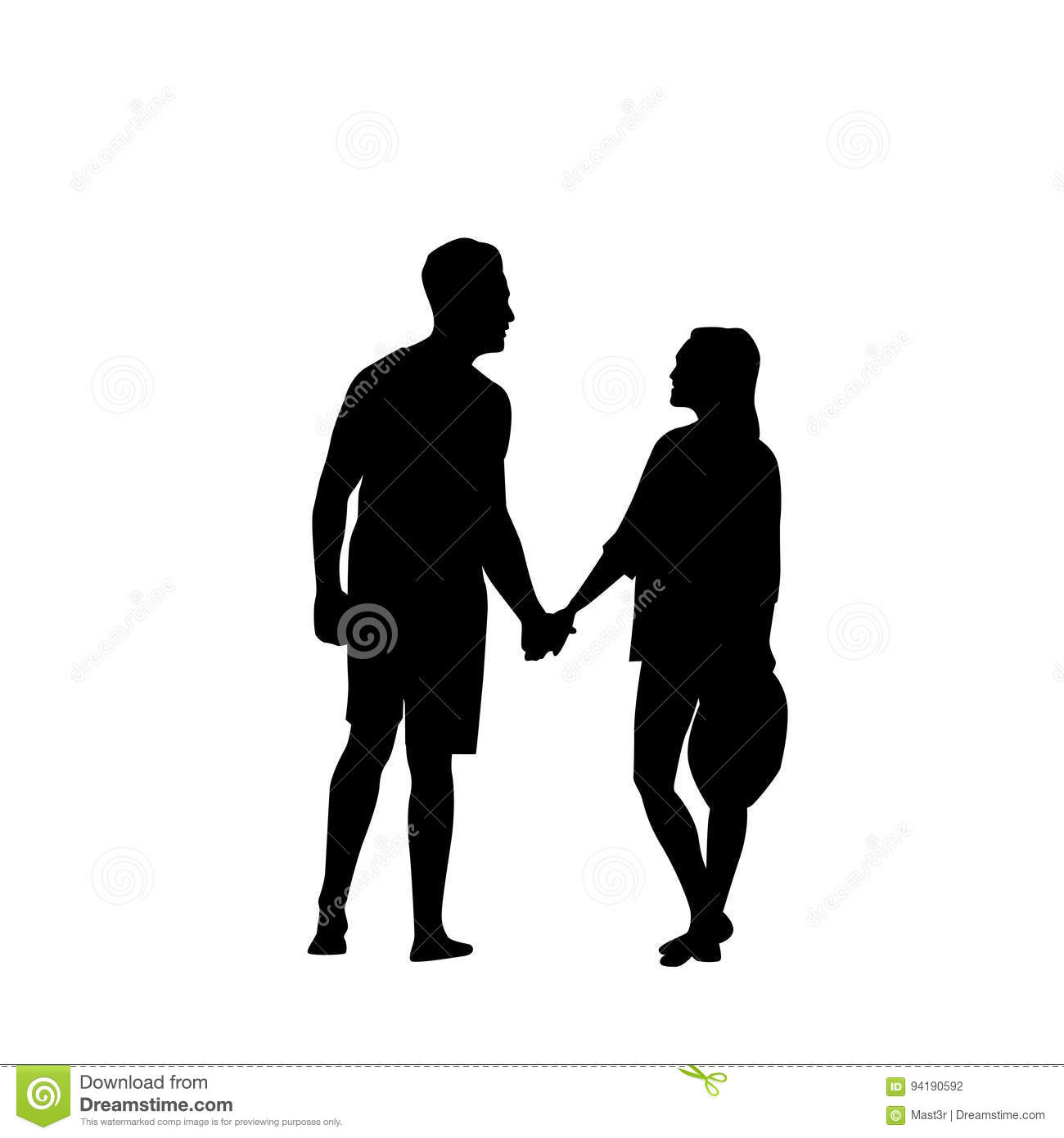 Black silhouette romantic couple holding hands full length isolated over white background lovers man and woman