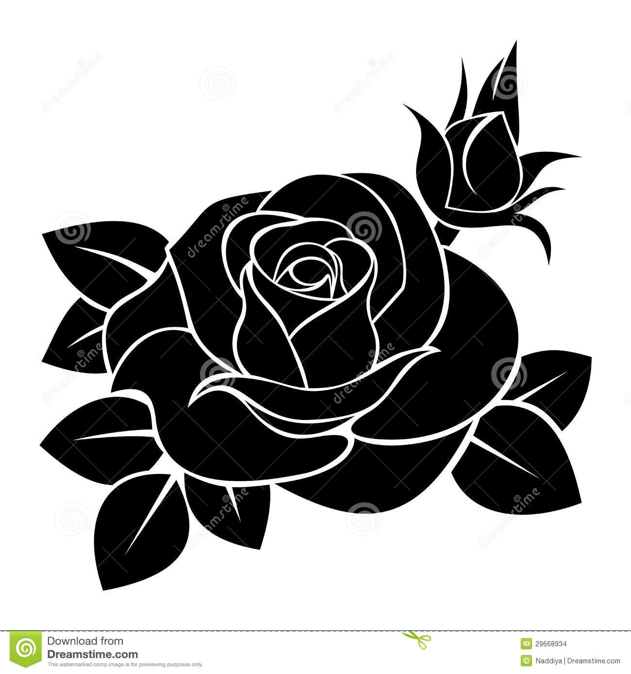 Vector Illustration Of Black Silhouette Rose With Rosebud And Leaves On A White Background
