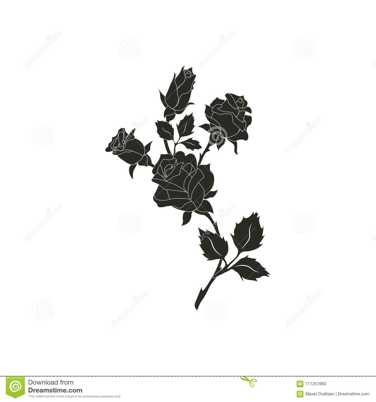 Black Silhouette Roses And Leaves Rose Tattoo Stock Illustration