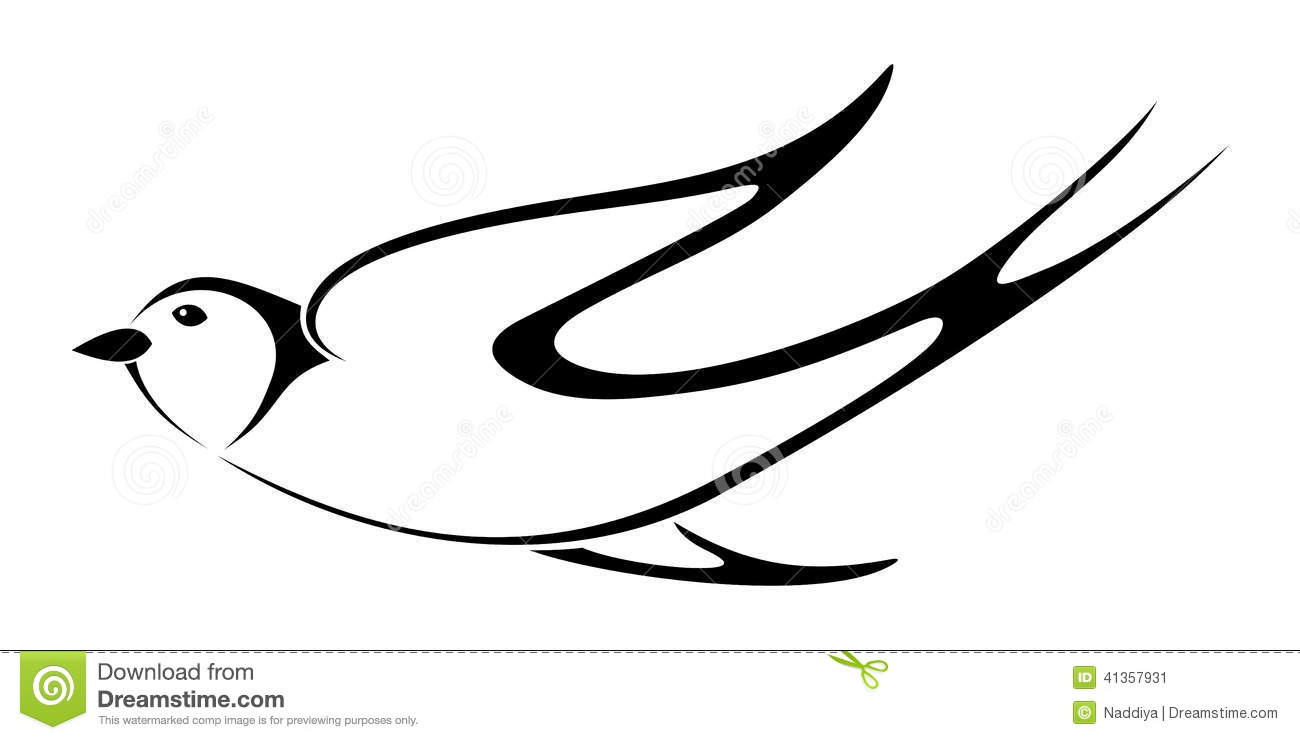Black Silhouette Of Swallow. Vector Illustration. Stock Vector - Image ...