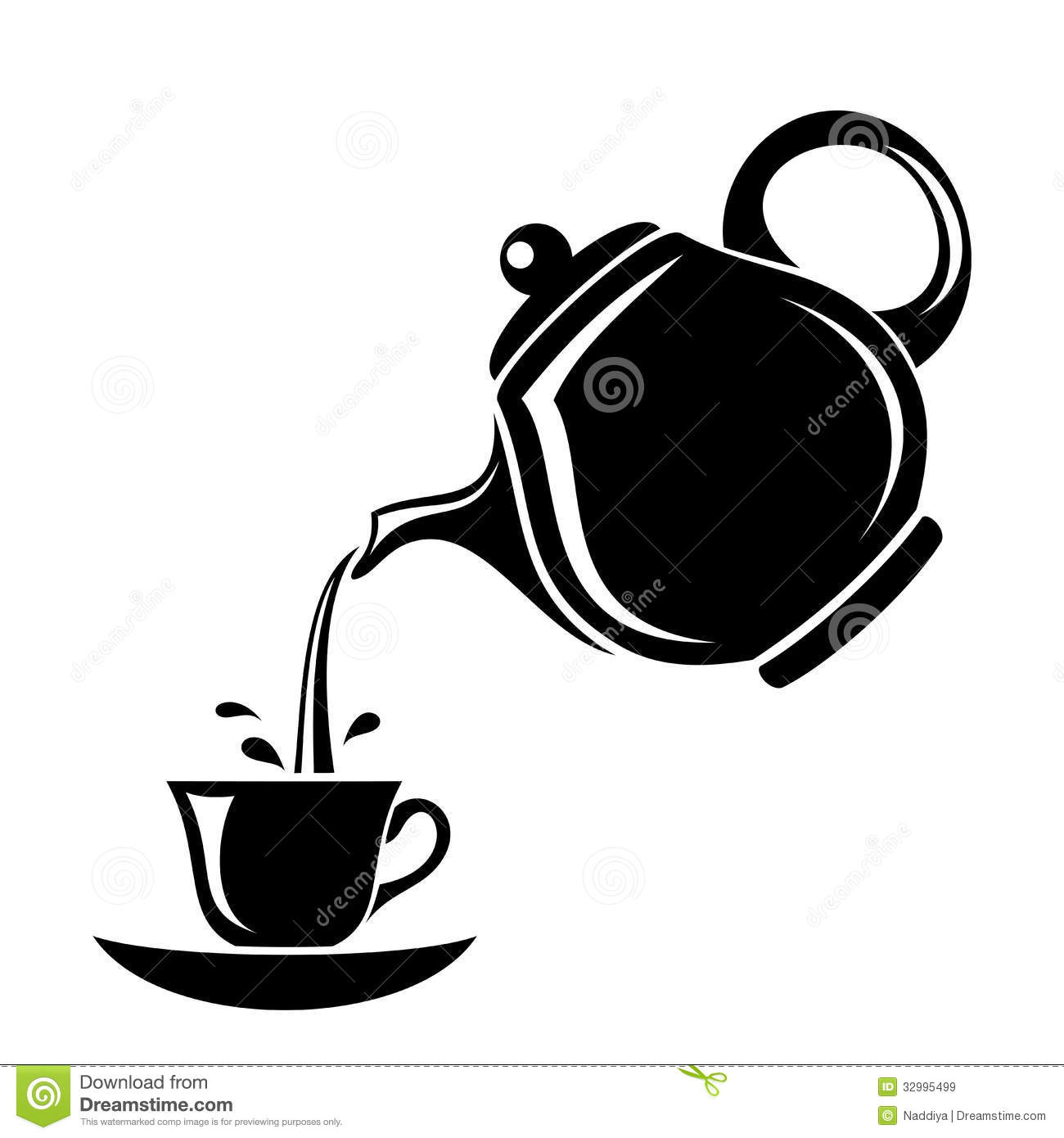 Black Silhouette Of Teapot And Cup. Royalty Free Stock Images - Image ...