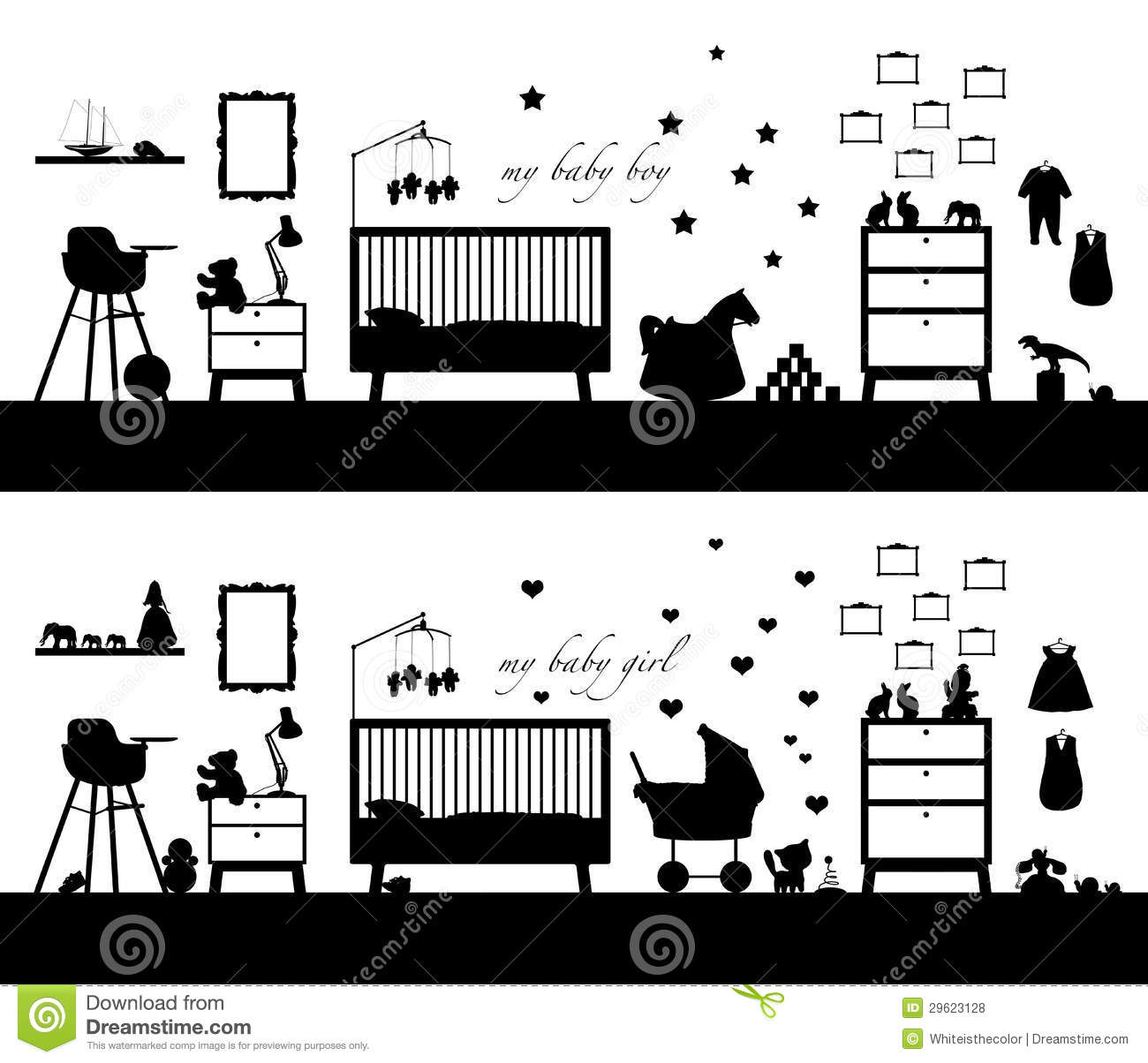 Black Silhouette Of Two Interiors Of Baby Room Both Girl