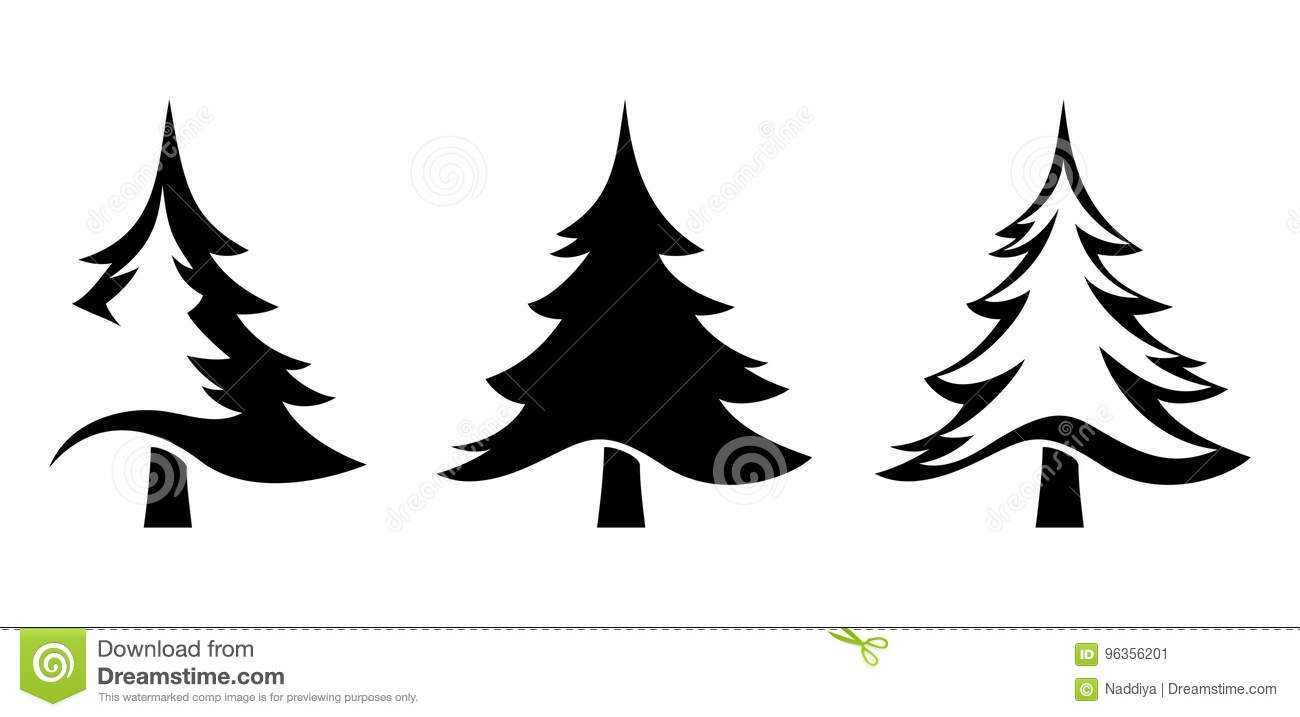 Black Silhouettes Of Fir Trees. Vector Illustration. Stock