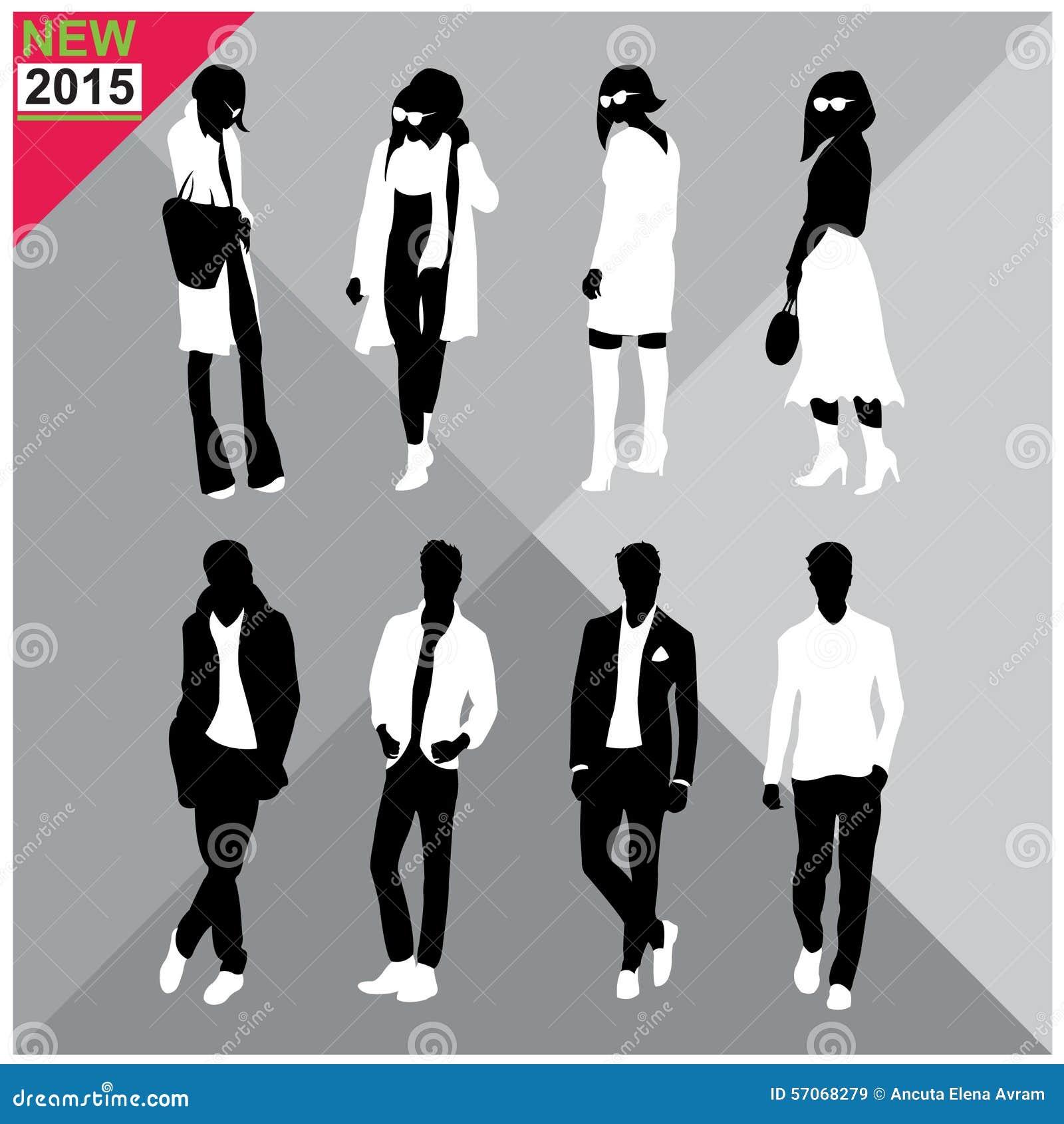 Black Silhouettes Of Men And Womenautumnfallsummer Attireoutfit