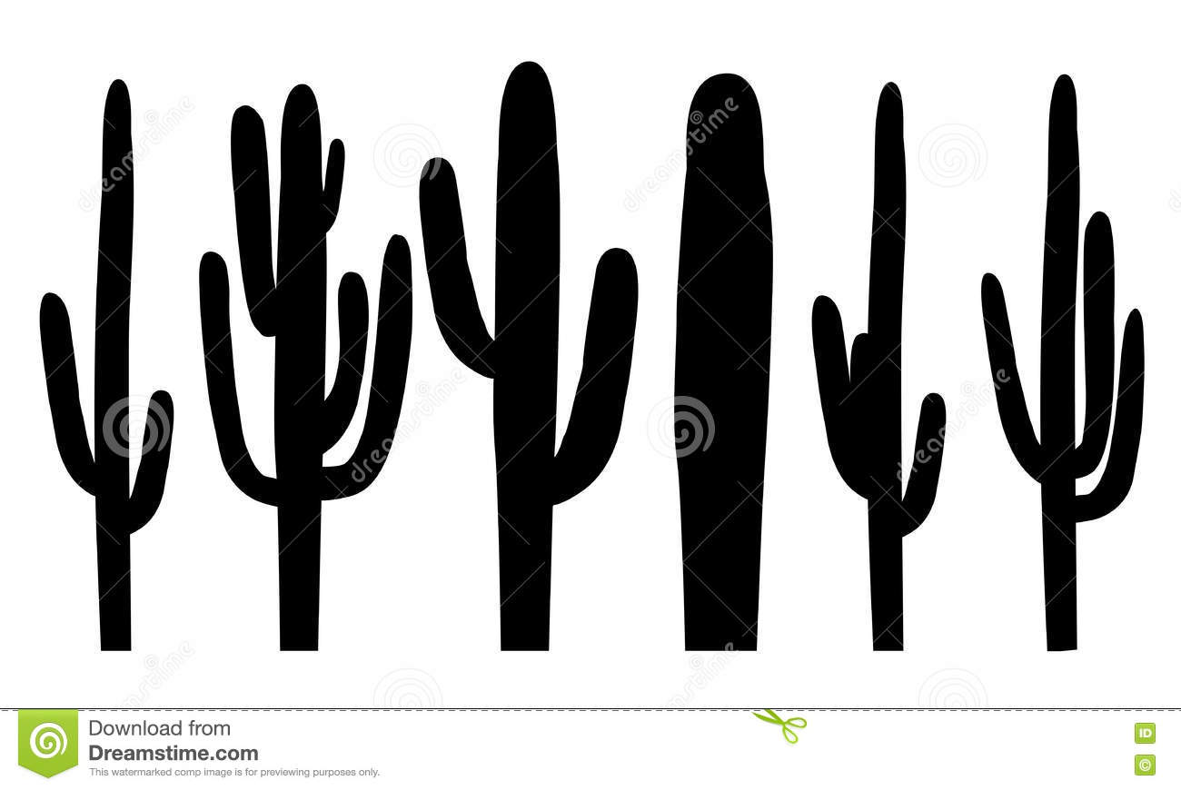 Black Silhouettes Of Saguaro Cactus, Vector Stock Vector ...