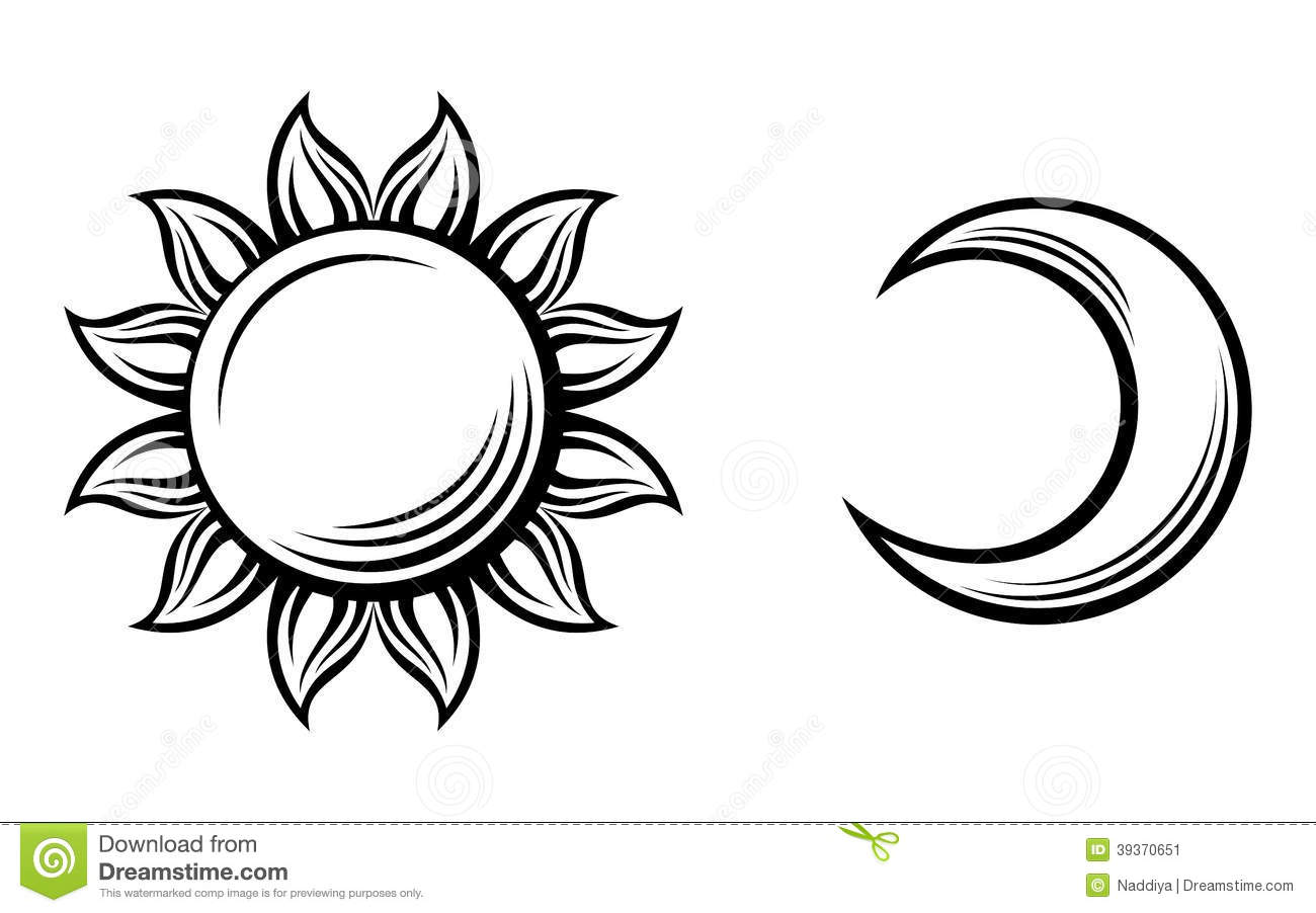 Black Silhouettes Of The Sun And The Moon. Vector Stock Vector - Image ...