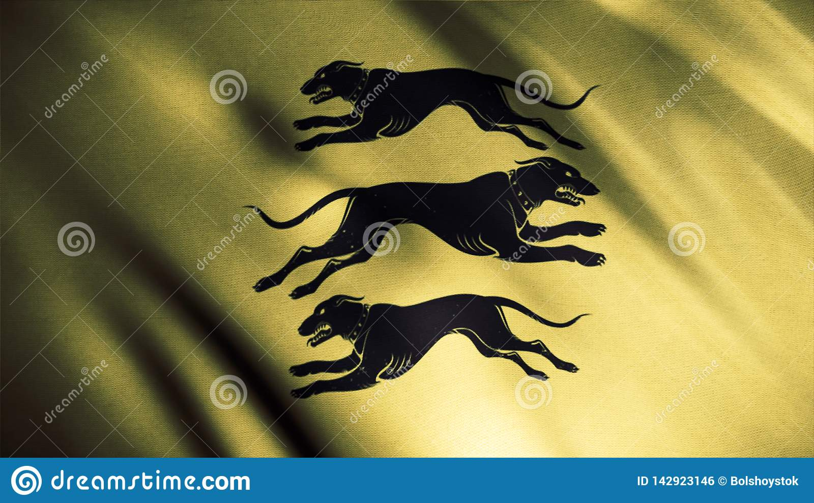 Black silhouettes of three dogs runing in different directions on golden waving flag background, seamless loop. Clegane