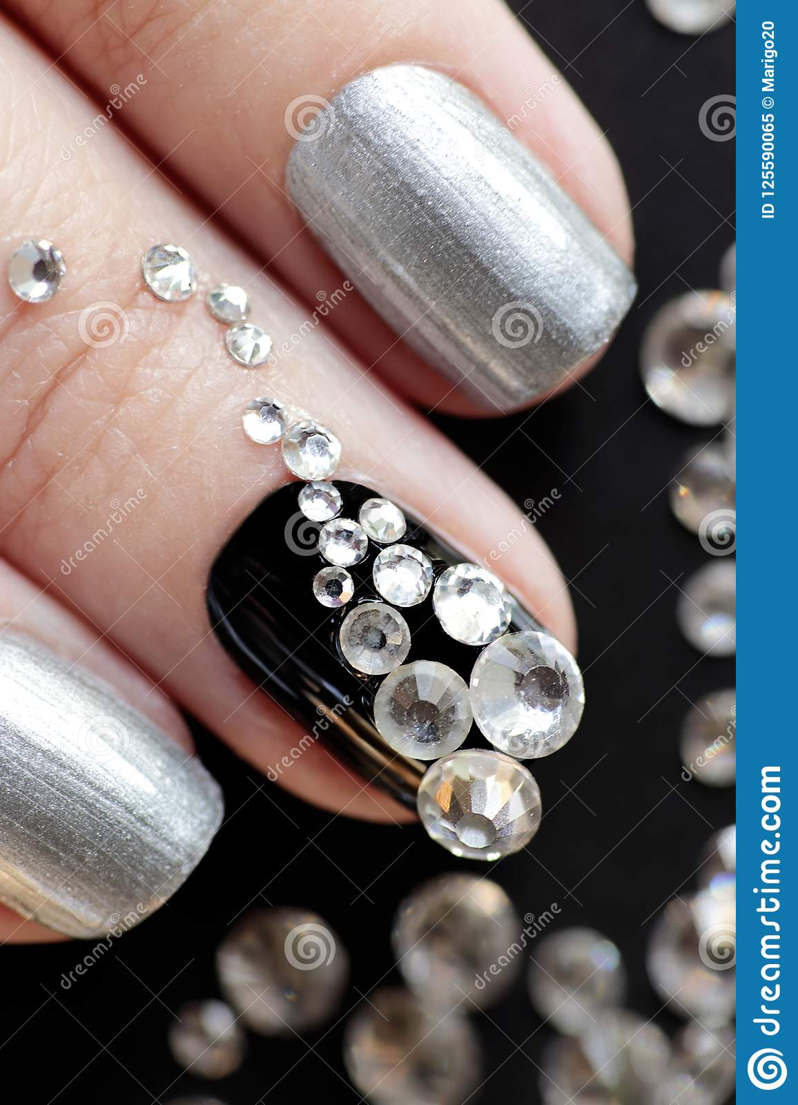 Black Silver Manicure On Short Nails With A Design Stock Image ...
