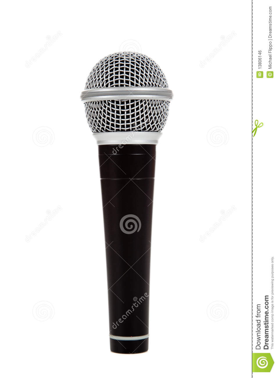 Black And Silver Microphone On A White Background Stock ...