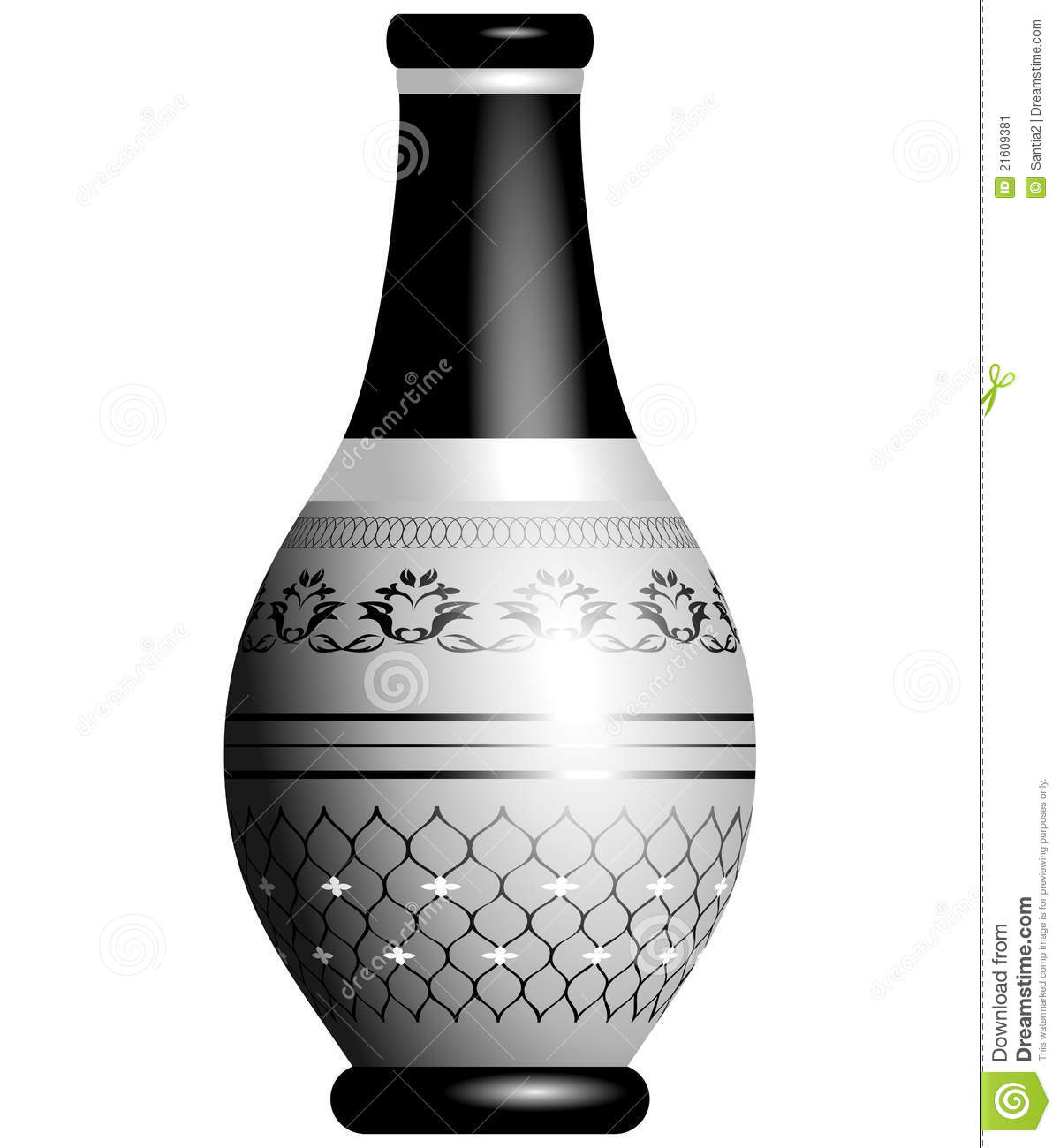 black and silver ornate vase d stock image  image  - black isolated ornate silver vase white