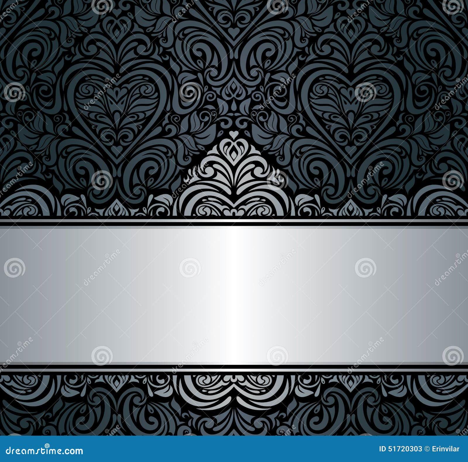 Black Amp Silver Vintage Invitation Background Design Stock