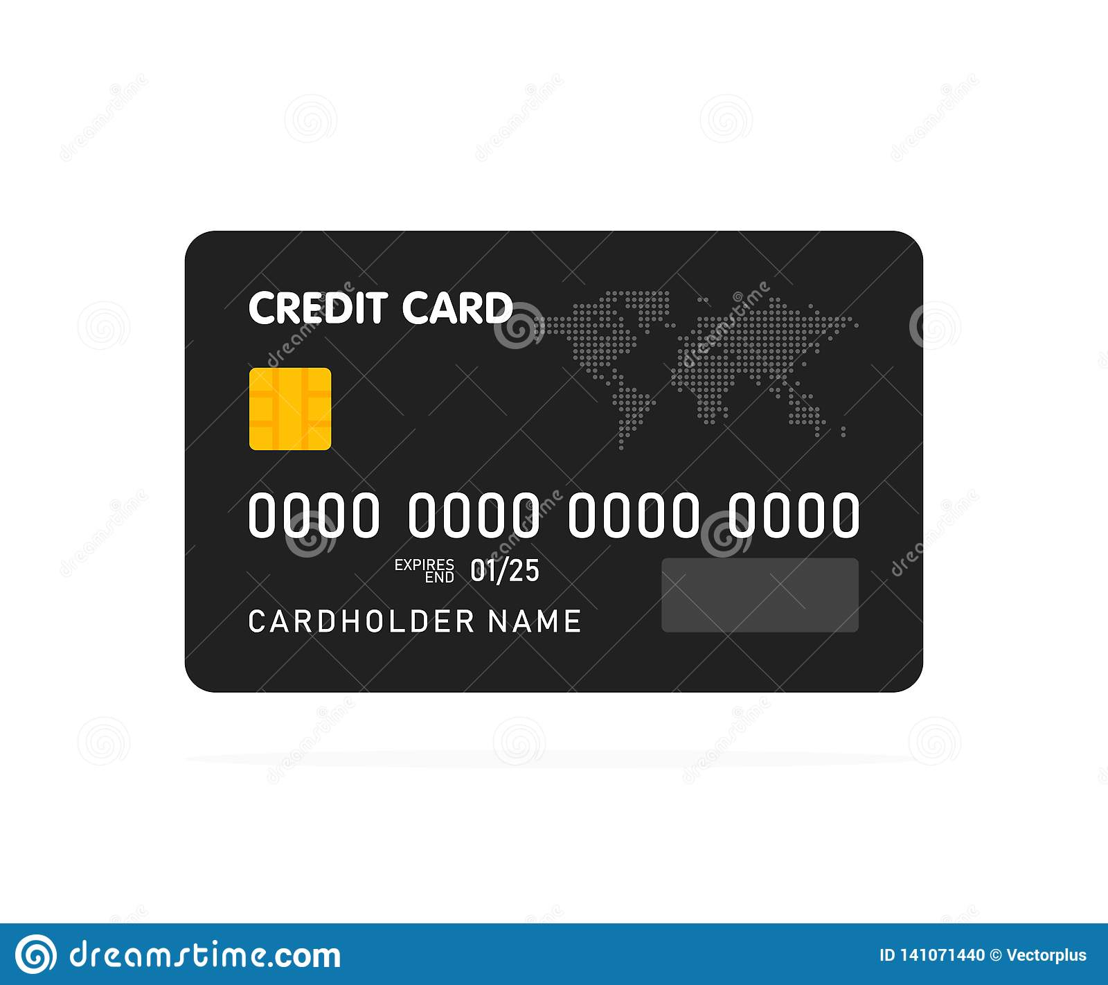 Black simple credit card template on white background. Vector
