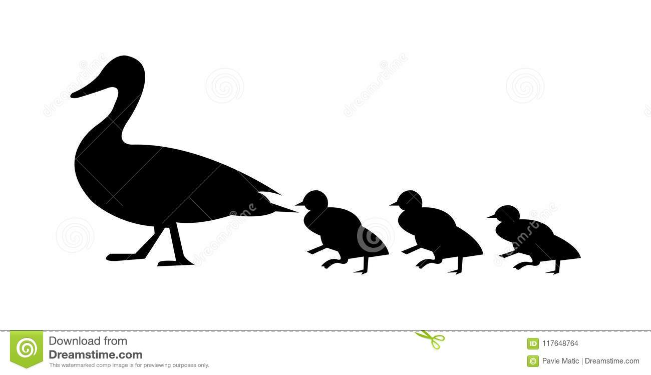 Duck With Ducklings Walking Silhouette Stock Vector