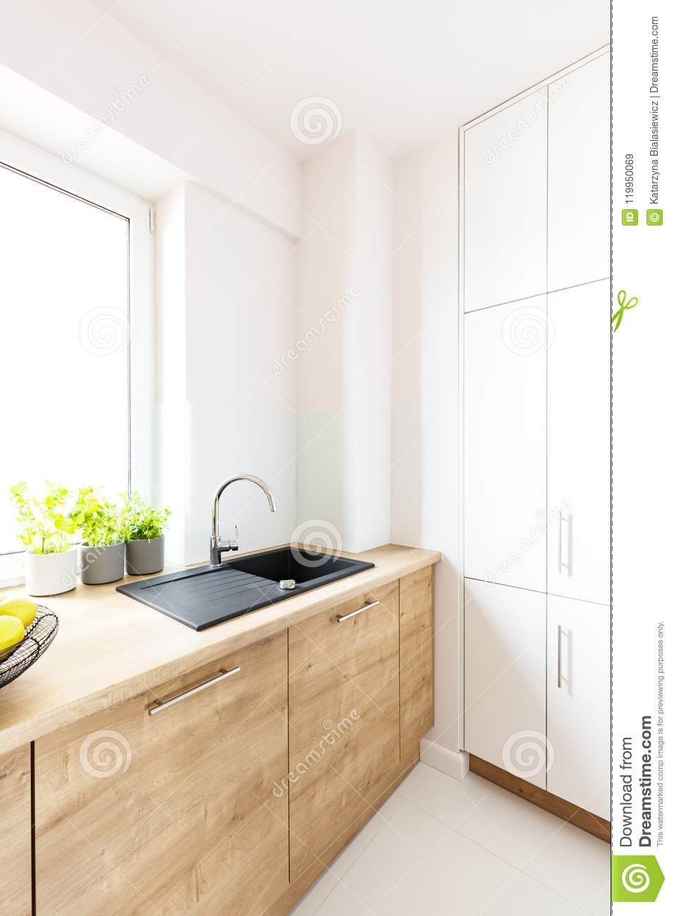 Black Sink In Wooden Countertop In White Kitchen Interior With W Stock Image Image Of Countertop Design 119950069,Modern Front Door Wreath Ideas