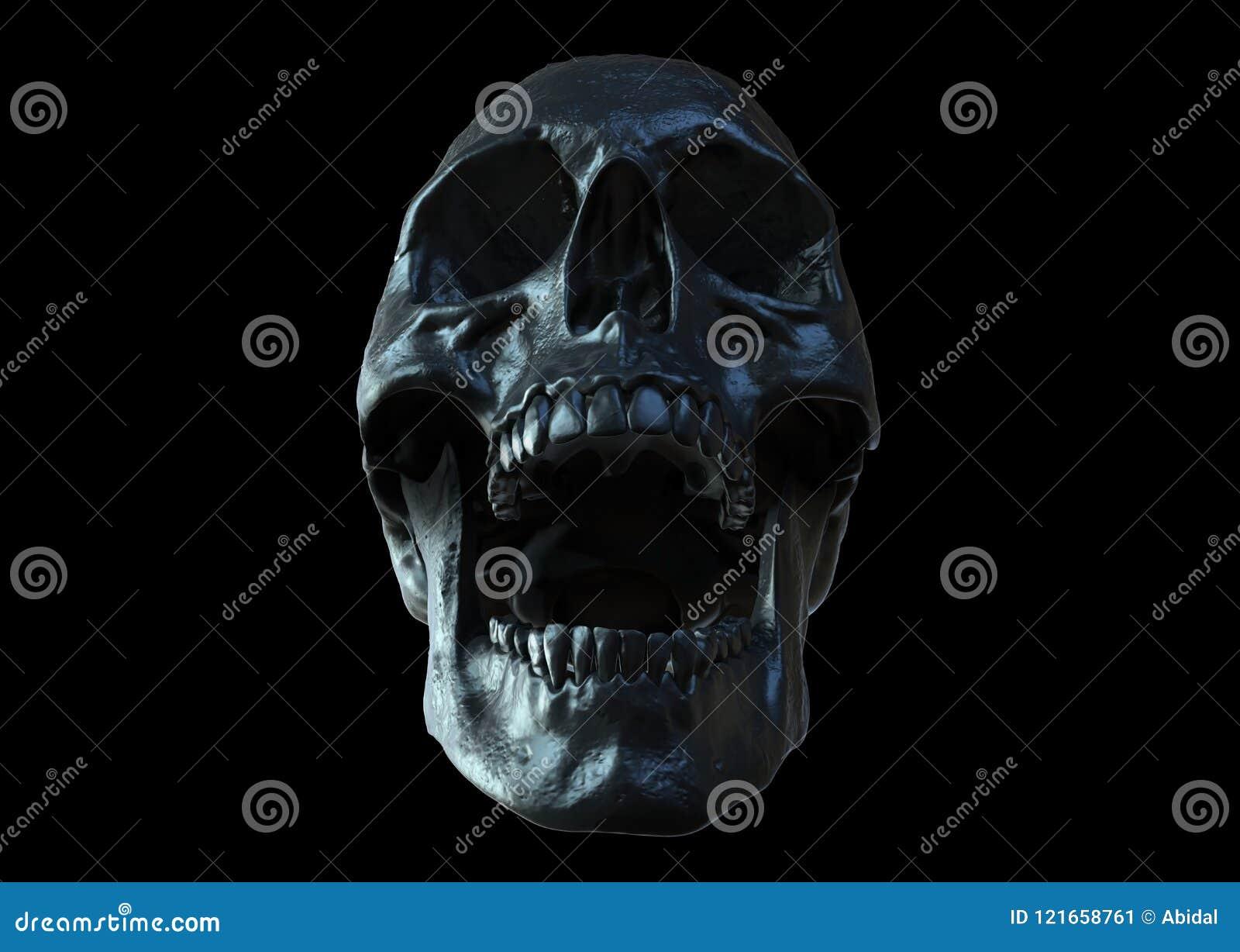 Black Skull Screaming Isolated
